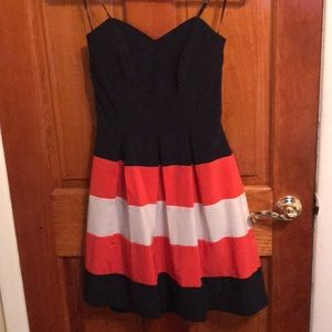 Navy strapless dress, coral and white stripes